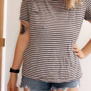 Gray and White Striped Tee
